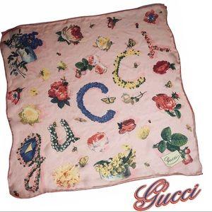 Gucci Vintage Sheer Silk Chiffon Scarf